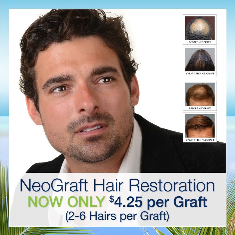 Neograft cost at Hair Restoration Savannah is now only 4.25